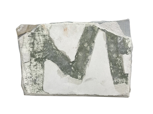Mariel Capanna  The First Letter, 2019  Lime plaster and earth pigment on drywall  9 1/4 x 13 1/2 in (23.5 x 34.3 cm)