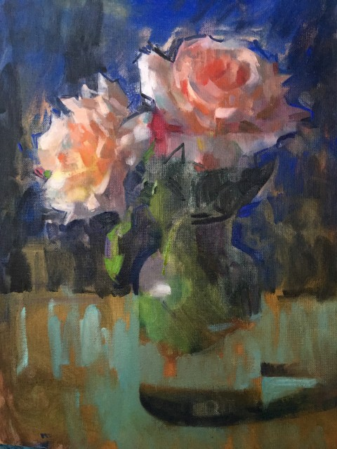 James Bland NEAC, Roses on Ultramarine