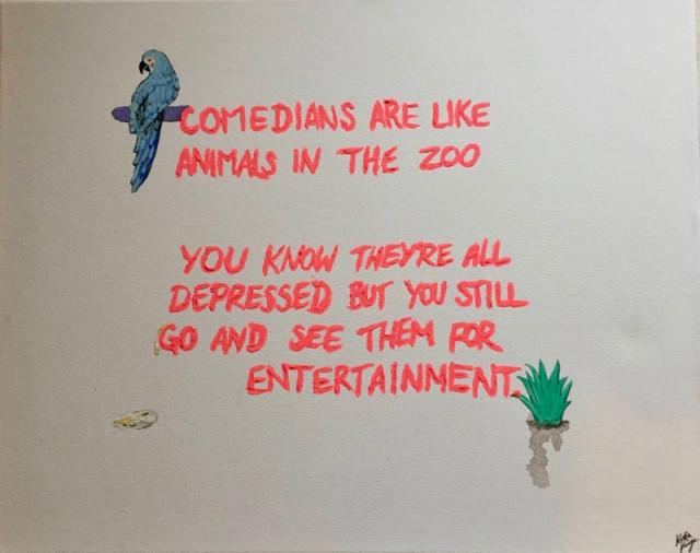 Katia Kvinge  Comedians Zoo, 2019  Acrylic on canvas  40 x 51 cm 15 3/4 x 20 1/8 in