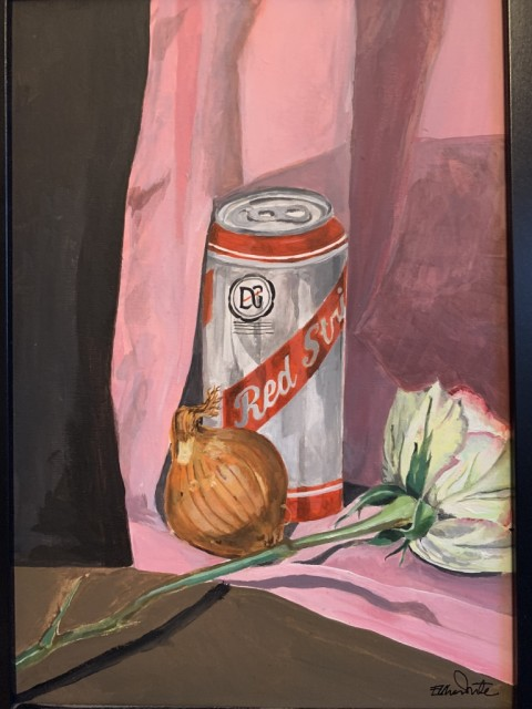 Ellie White  Still Life with Red Stripe, 2019  Acrylic on canvas board  30 x 21 cm 11 3/4 x 8 1/4 in