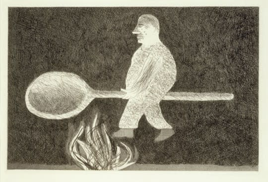 David Hockney, Riding around on a Cooking Spoon from Illustrations for Six Fairy Tales from the Brothers Grimm, 1969
