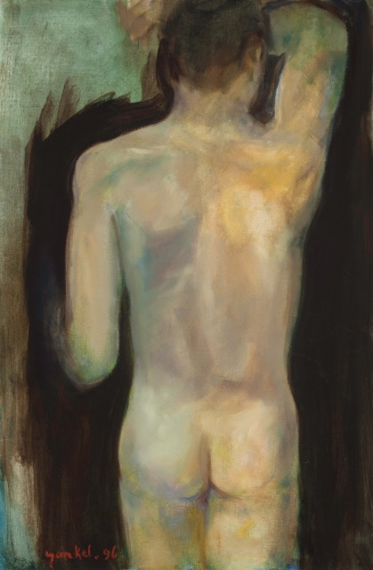 <span class=&#34;artist&#34;><strong>Yankel Feather</strong></span>, <span class=&#34;title&#34;><em>Back of Male Nude</em></span>