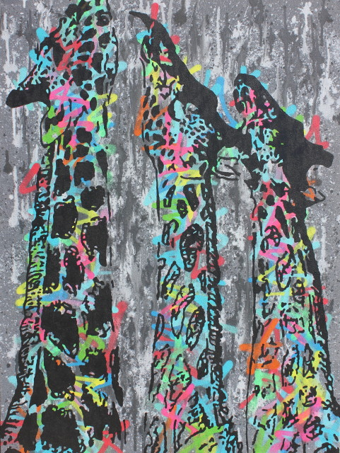 Humphrey Dettmer, Three Giraffes, 2017