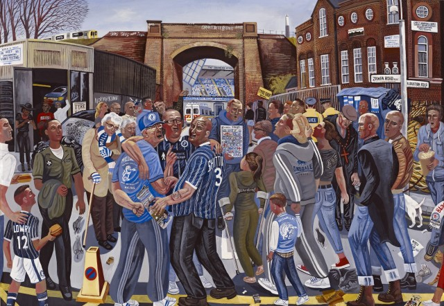 <span class=&#34;artist&#34;><strong>Ed Gray</strong></span>, <span class=&#34;title&#34;><em>Adoration at the Lions' Den 'Matchday at Millwall'</em>, 2014</span>