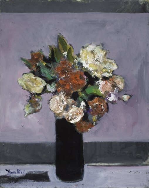 Yankel Feather, Flowers in a Black Vase