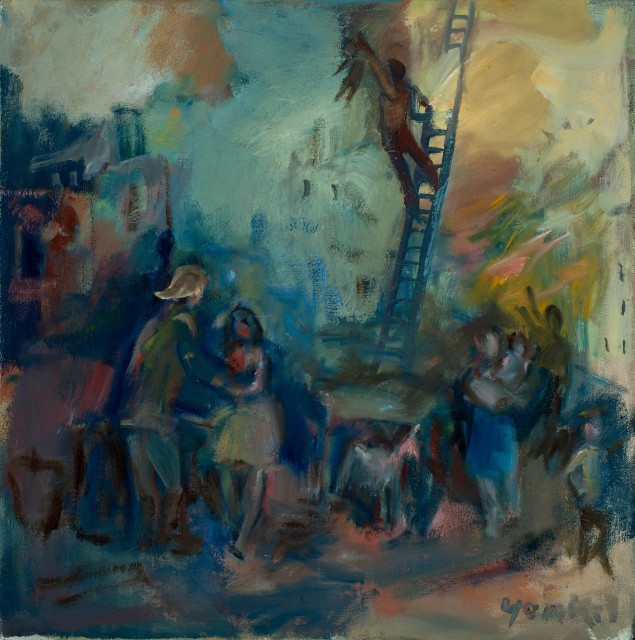 <span class=&#34;artist&#34;><strong>Yankel Feather</strong></span>, <span class=&#34;title&#34;><em>Fire at Stanhope St</em></span>