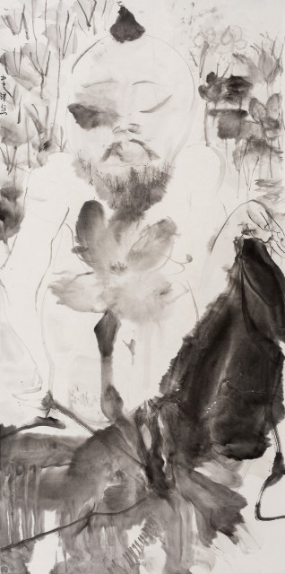 Li Jin 李津, Man in Lotus 荷中人, 2017