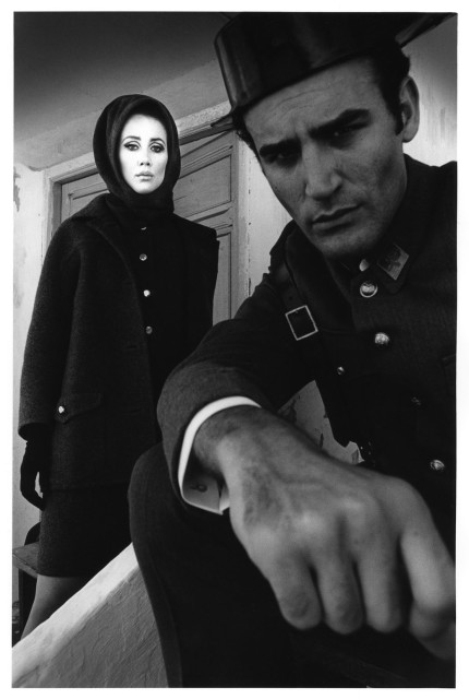 Jeanloup Sieff  Fashion Pertegaz, with Spanish comedian playing a carabiniere, Madrid, Harper´s Bazaar, 1966  Gelatin silver print  40 x 30 cm  Estate stamp and signed by Barbara Sieff, executor of the estate, on verso