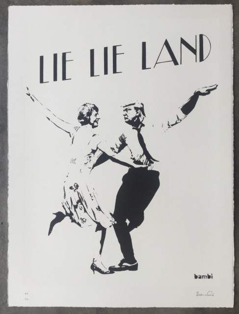 Lie Lie Land (white) screenprint, 2017