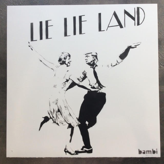 Lie Lie Land (hand cut stencil and spray paint), 2017