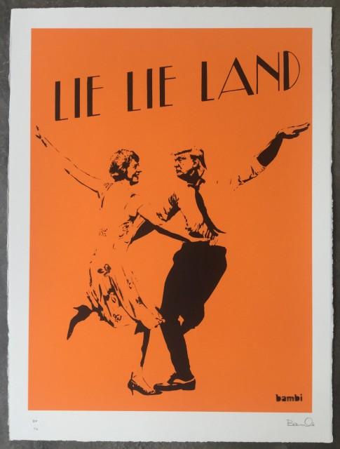 Lie Lie Land (orange) screenprint, 2017