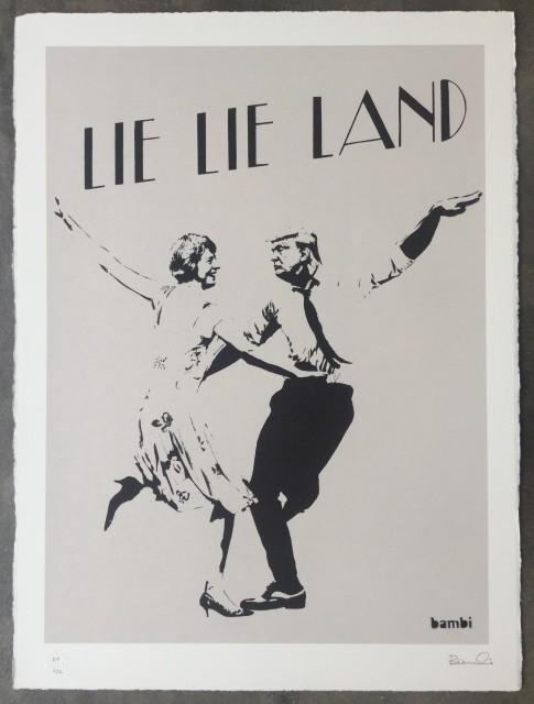 Lie Lie Land (grey) screenprint, 2017