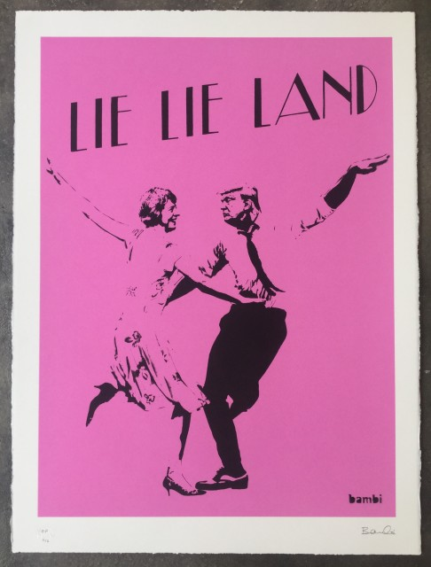 Lie Lie Land (pink) screenprint, 2017