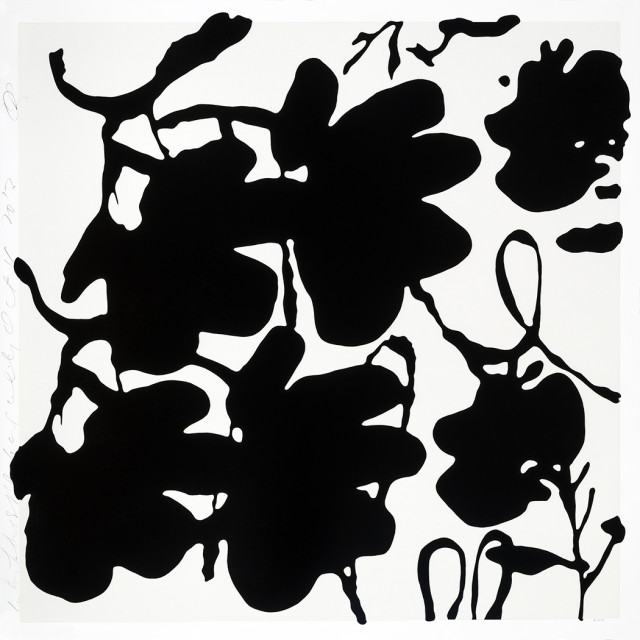 donald sultan, Lantern Flowers, Black and White , 2017