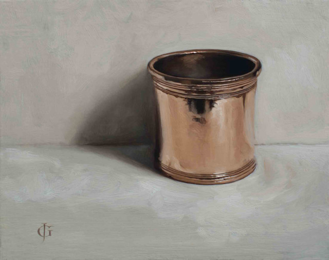 James Gillick  Bronze Pot  Oils on linen over panel  8.66 x 9.84ins (22 x 25cm) (artwork size)  13.2 x 15.16ins (33.5 x 38.5cm) (framed size)  Reprise available on request: £6,250
