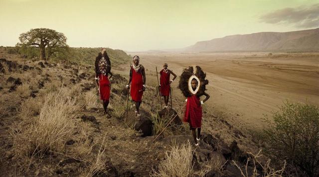 Jimmy Nelson  VIII 450 - Ladaru, Lenaitu, Lengaa, Saitoti - Tarangiri, Rift Escarpment - Tanzania, 2010  Archival print  100 x 180 cm  Ed. 3/6