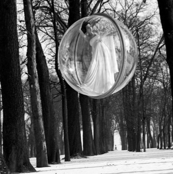 Melvin Sokolsky  In Trees, Paris, 1963  Silver print, printed later.  Image 35.5 x 35 cm (14 x 13 3⁄4 in.)  sheet 49.8 x 40.4 cm (19 2⁄3 x 16 in.)  Edition 24/25