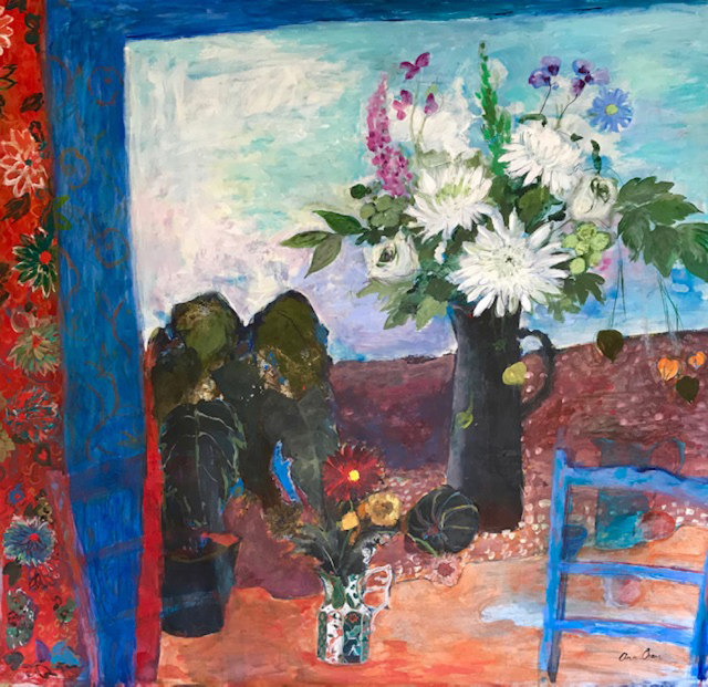 Ann Oram, Still Life with Flowers and a Blue Chair