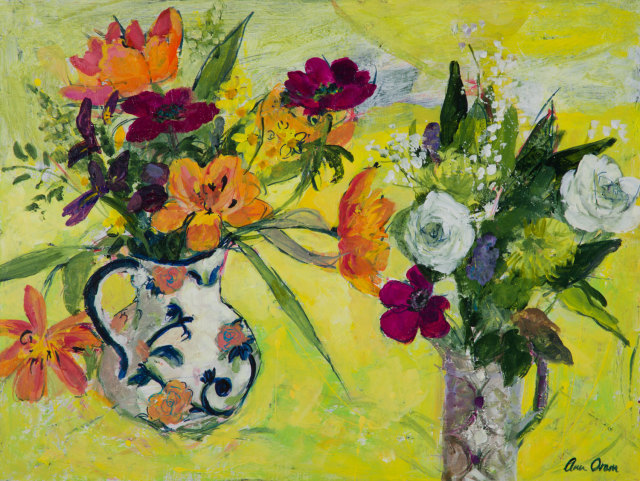<span class=&#34;artist&#34;><strong>Ann Oram</strong></span>, <span class=&#34;title&#34;><em>Two Vases of Spring Flowers on Yellow</em></span>