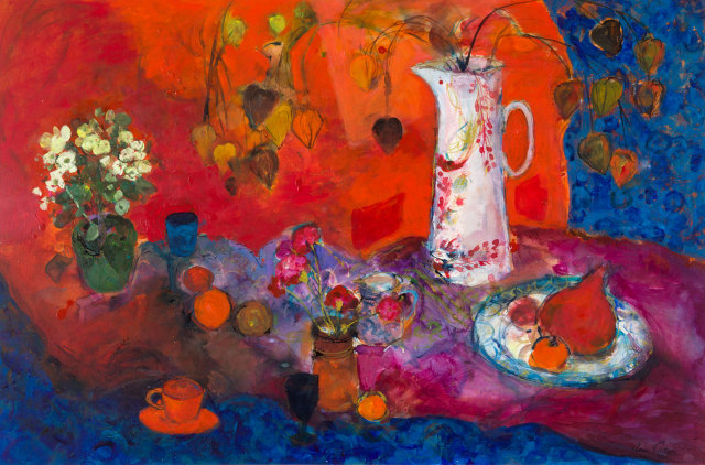 <span class=&#34;artist&#34;><strong>Ann Oram</strong></span>, <span class=&#34;title&#34;><em>Red Still-life with White Jug and Fruit</em></span>
