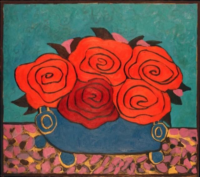 Basmat Levin 巴斯瑪特 · 勒文, Flowers on Blue, 2011