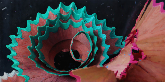 Shavings Pink and Turquoise