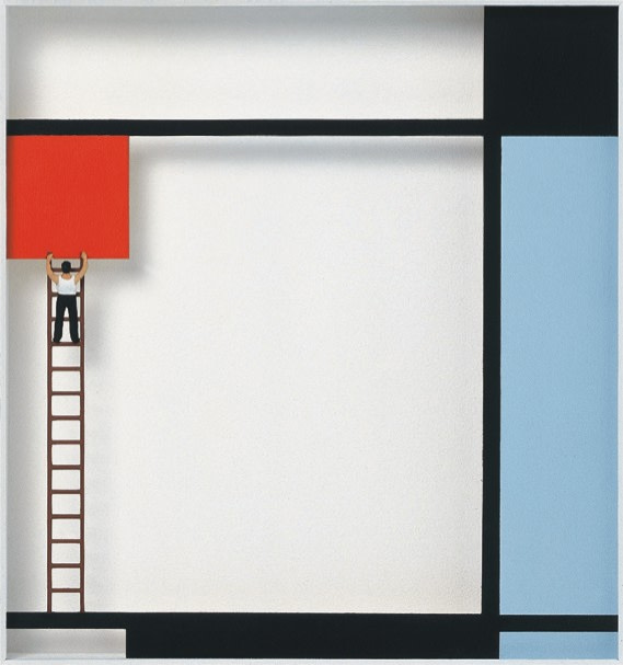 Volker Kuhn, Homage to Piet Mondrian 'Mondrian at work'