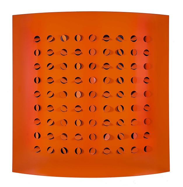 <span class=&#34;artist&#34;><strong>Rashid Al Khalifa</strong></span>, <span class=&#34;title&#34;><em>Orange Steel Cut</em>, 2015</span>