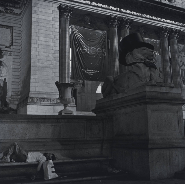 Robert Giard, 'Particular Voices' banner, New York Public Library, 1998
