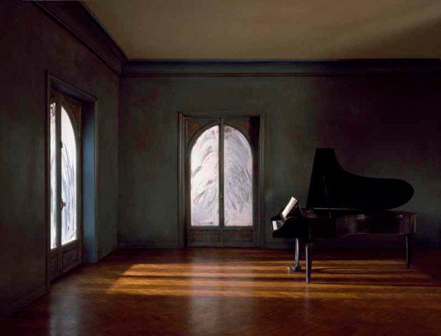 Charles Matton  The Grand Piano Tail in the Whitened Windows Living Room, 1986  Lambda Chromogenic print mounted to archival board  41 ¾ x 55 ¼ inch (106.05 x 140.34 cm) image  50 ¼ x 63 ¼ inch (127.64 x 160.66 cm) board  Edition of 14 (#1/14)