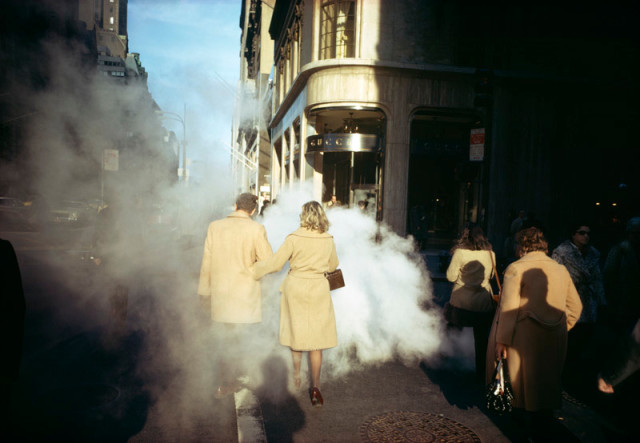"Joel Meyerowitz  ""Camel Coats"", New York City, 1975  Pigment print on archival paper flush mounted to archival board  26 ½ x 39 ½ inch (67.31 x 100.33 cm) image  26 ¾ x 39 ¾ inch (67.95 x 100.95 cm) paper, board  Edition of 10 (#4/10)"