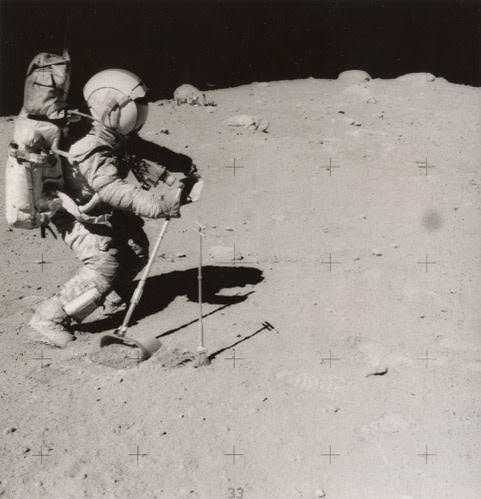 NASA Apollo 16, 23 April 1972 Gelatin silver print 7 ¼ x 7 inch (18.42 x 17.78 cm) image 8 x 10 inch (20.32 x 25.4 cm) paper