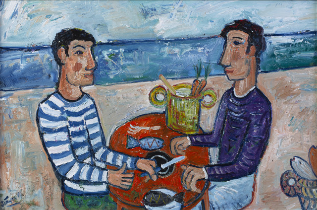 Simeon Stafford Fishermen Oil on Canvas Image Size: 74cm x 49cm Frame Size: 90cm x 65cm