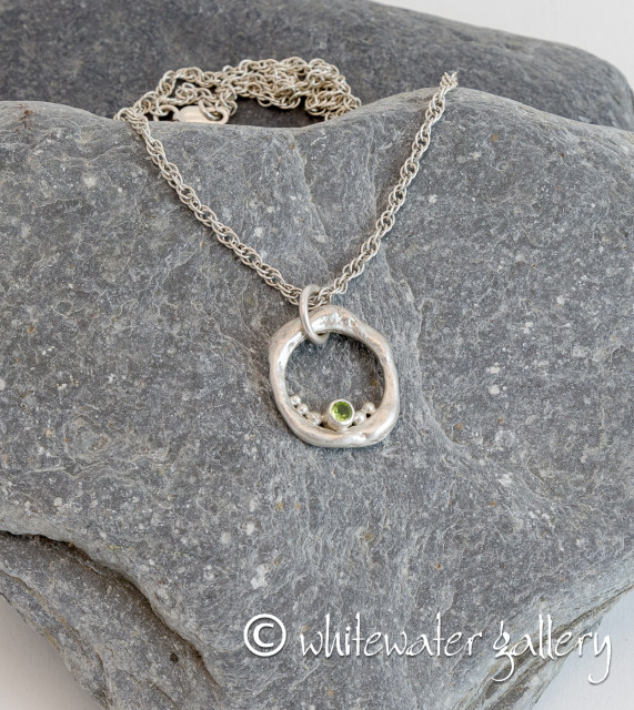 Marsha Drew  Rockpool Bubble Pendant with Peridot  Hallmarked Silver with Peridot  2.3cm x 2.3cm x 0.3cm  Price includes delivery in the UK