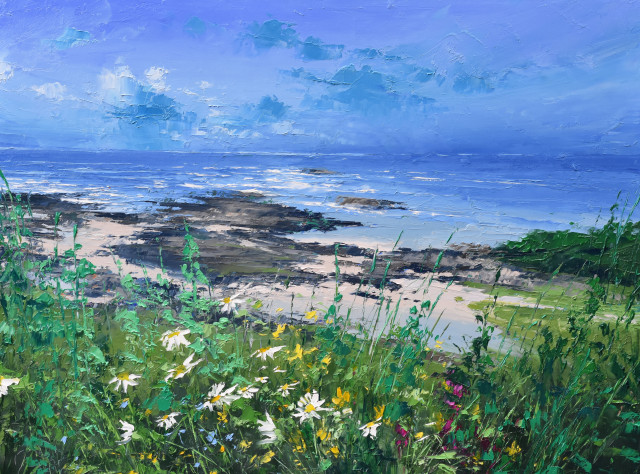 Colin Carruthers  COASTAL DAISIES II  Oil on Canvas  80 X 60cm