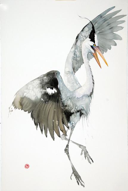 "Karl Martens  GREY HERON I(UNFRAMED)  Watercolour  59"" X 39.5"""