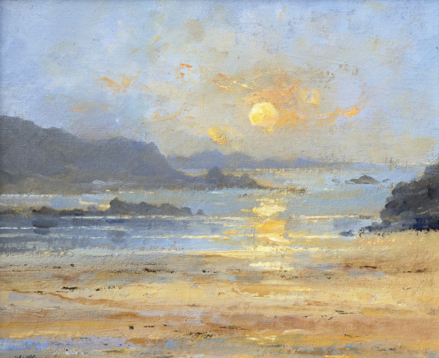 David Howell  SUNSET - PLAGE DE LONGCHAMP, SAINT-LUNAIRE, BRITTANY  Oil on Board  25 x 30cm