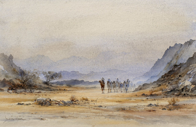 "David Howell DESERT LANDSCAPE Watercolour 13"" x 20"""