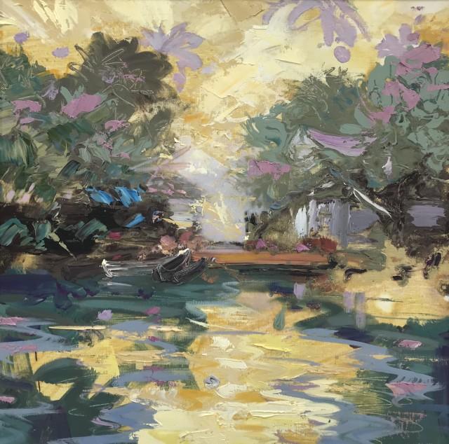 "Paul Treasure  BACKWATERS  Oil on canvas  24"" X 24"""