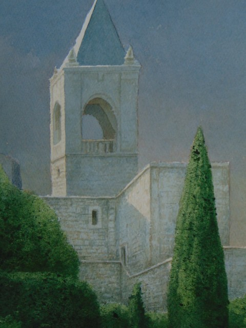 Kevin Hughes  CASTLE TOWER, ANTEQUERA  Watercolour  33 X 41cm