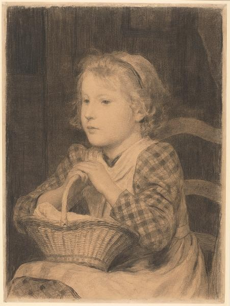 Albert Anker (1831-1910), Girl with basket, c. 1895, charcoal on paper, 58 x 42,9 cm, Kunsthaus Zürich
