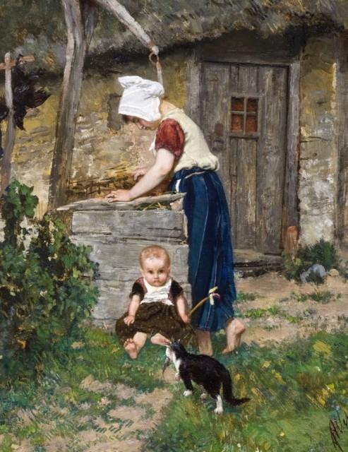 August Allebé (1838-1927), Peasant girl near a well, 1869, Oil on panel, Stedelijk Museum Breda