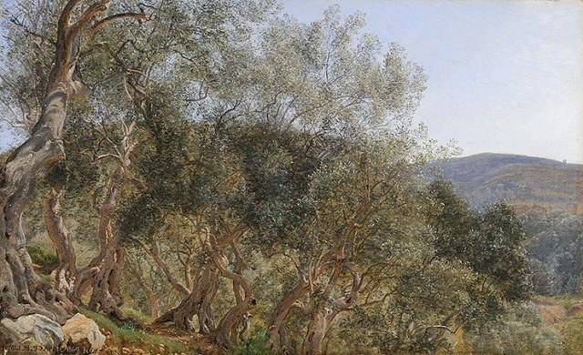 Janus la Cour (1837-1909), Olive trees near Tivoli, 1869, oil on paper laid on canvas, 37,7 x 60,6 cm, Fondation Custodia Paris