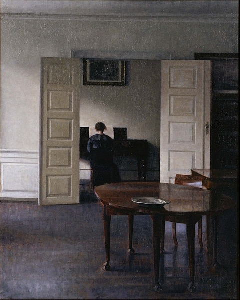 Vilhelm Hammershøi (1864-1916), Interior with Ida playing the piano, 1910, oil on canvas, 76 x 61,5 cm, National Museum of Western Art, Tokyo