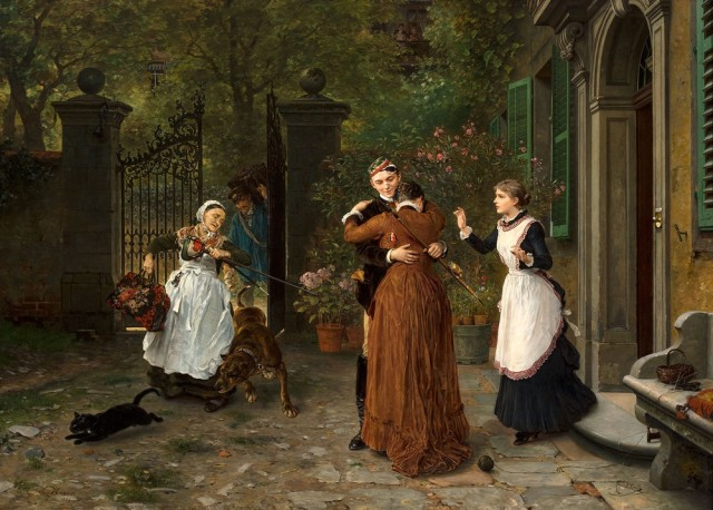 Ludwig Knaus (1829-1910), The student's homecoming, 1884, oil on canvas, Grohmann museum collection at the Milwaukee School of Engineering