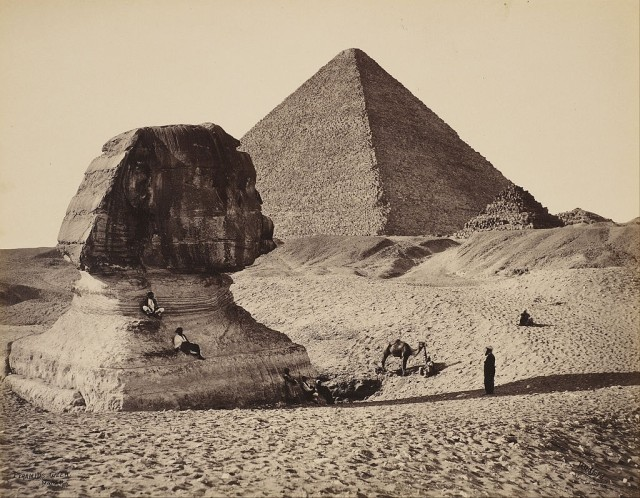Francis Bedford (1815-94), The Sphinx, the Great Pyramid and two lesser Pyramids, GHizeh, Egypt, 1862, photograph, Royal Collection Trust