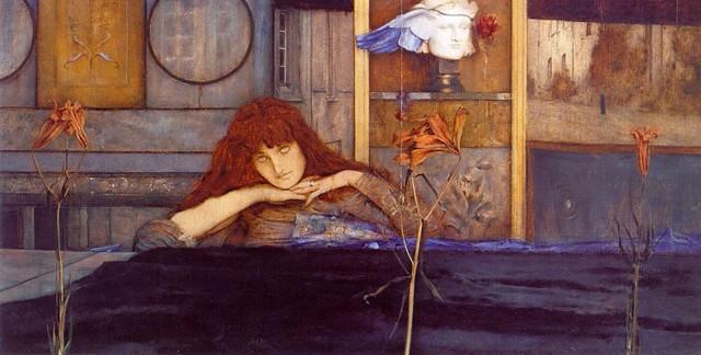 Fernand Khnopff (1858-1921), I lock my door upon myself,1891, oil on canvas, 72,7 x 141 cm, Neue Pinakothek Munich