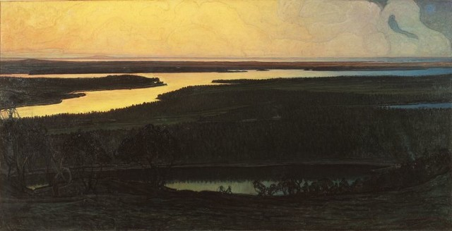 Otto Hesselbom (1848-1913), Our country. Motif from Dalsland, 1902, oil on canvas, 126 x 248 cm, Nationalmuseum Stockholm