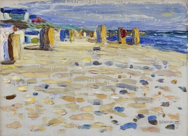 Wassily Kandinsky (1866-1944), Holland - Strandkörbe, 1904, oil on carton, 24 x 32,8 cm, Lenbachhaus Munich