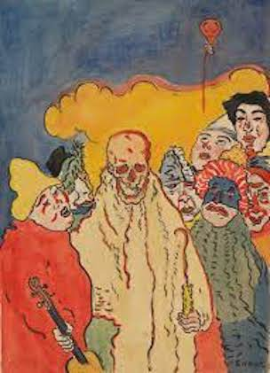 James Ensor (1860-1949), Les masques et le mort, 1898, watercolour, Kunst Museum Winterthur